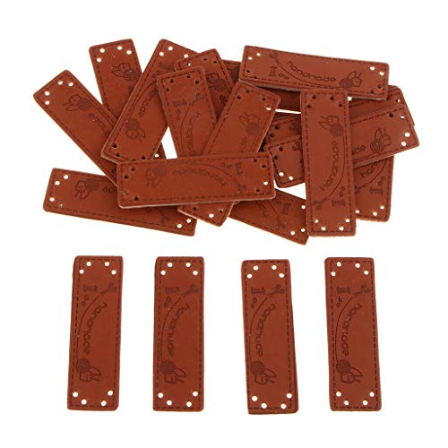 20Pcs PU Leather Label Set Sew on Labels with Holes Engraved Tag Accessories   Style - Scissor Pattern