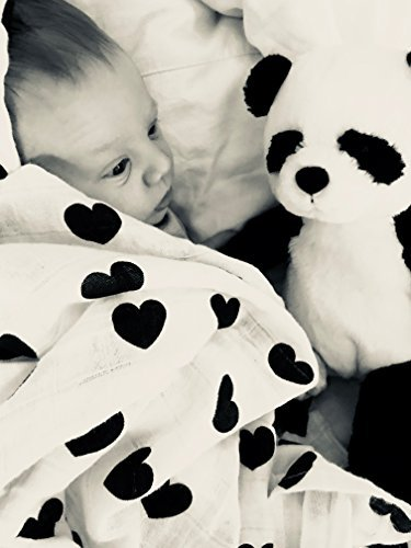 Little Bear Baby Muslin Swaddle Blanket by, 3 Pack Monochrome Set - Crosses, Alphabet & Hearts, Extra Large 47 x 47 Inches, 100% Pure Cotton -  Big Bear Products, KNS 11