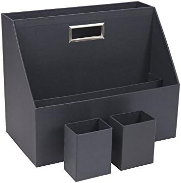 Bigso Box of Sweden Schreibtisch Organizer mit 3 Fächern – Ablagebox mit Stiftehalter aus Faserplatte und Papier – Schreibtischset für Notizbücher, Büroklammern, Dokumente, Stifte usw. – dunkelgrau