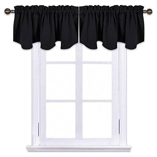 NICETOWN Window Dressing Blackout Curtains - W52 x L18 Scalloped Rod Pocket Valances, Double Panels, ()