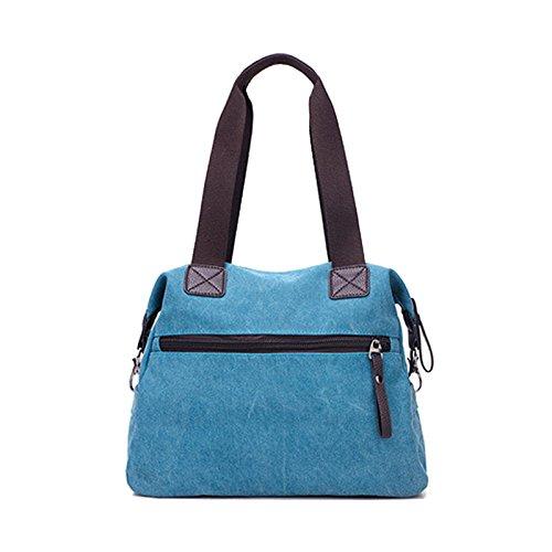 ZENTEII Bolso De Lona Estilo Retro Vintage Para Mujer De Gran Capacidad Bolsa De Hombro azul