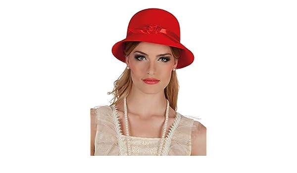 DISBACANAL Sombrero años 20 para Mujer - Rojo  Amazon.es  Juguetes y juegos 0194ea5ccc0