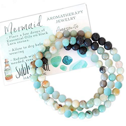 (Subherban Handmade Essential Oils Aromatherapy Bracelet or Necklace Jewelry - MERMAID - Amazonite Lava Stone Diffuser for)