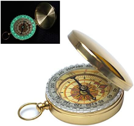 Fliyeong Vintage Copper Flip Pocket Compass for Outdoor Navigation Luminous Travel Camping Hiking Mens Gift Durable and Useful