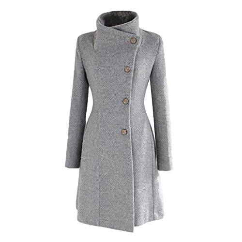 gris larga de de M para tallas mujer botonadura XS estilo L invierno q4xUYFPw