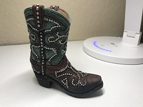 Polly House Small Western Cowboy Cowgirl Rustic Turquoise/Brown Cross Boot Vase Toothpick Garden Pot Pen Pencil Holder (B)