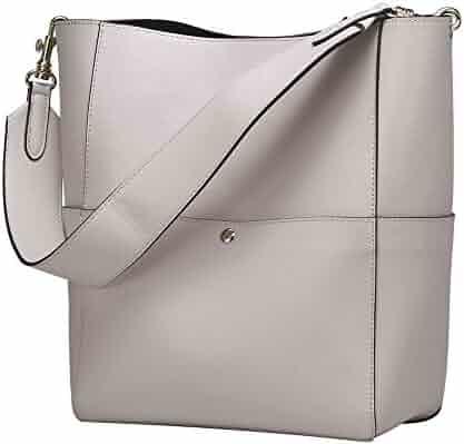 4064a879bc S-ZONE Women s Vintage Genuine Leather Bucket Tote Shoulder Bag Hobo  Handbag Purse
