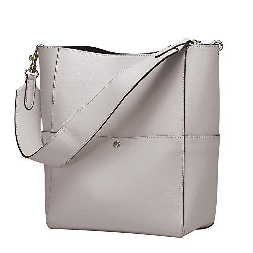 S-ZONE Women's Fashion Vintage Leather Bucket Tote Shoulder Bag Handbag Purse (Grey-White) (Bag White Tote Leather)