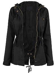 DOUBLDO Womens Military Inspired Classic Solid Anorak Safari Jacket -1X-BLACK