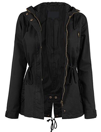 KOOLDO Womens Fully Lined Anorak Jacket with Hooded and Waist Drawstring-2X-BLACK