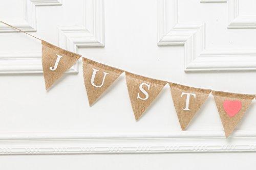 (Just Hitched Wedding Burlap Banner, Recién Casados, Just Married Banner, Rustic Wedding Decor, We Eloped Sign, Wedding Car Sign, Barn Décor)