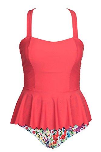 Cupshe Fashion Women's Falbala High-waisted Padding Bikini Set (L, Red Top Floral Printing Bottom)