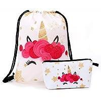 Gold and Pink Unicorn Pretty Gift Drawstring Bag for Girls, Stylish Glitter Unicorn Backpack