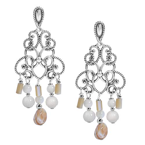 (Carolyn Pollack Sterling Silver White and Bronze Mother of Pearl Beaded Chandelier Earrings)