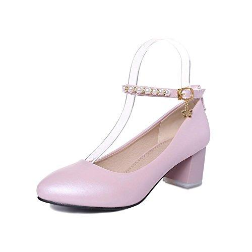 Allhqfashion Womens Pu Fibbia Solida Rotonda Punta Chiusa Gattino Tacchi Pompe-scarpe Rosa