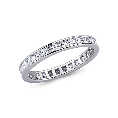 925 Solid Sterling Silver 3MM ALL AROUND ETERNITY Design AAAAA+ Gem Grade Quality PRINCESS CUT 0.50 CARAT CZ Ring Comfort Fit and Rhodium Plated Bridal Sets Anniversary Promise Engagement Wedding Ring (Princess Wedding Anniversary Bridal Ring)