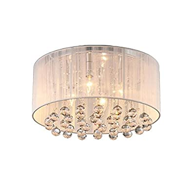 LightInTheBox 4 Light Simple Round Brushed Designers Crystal Flush Mount Chandelier Ceiling Lighting Fixture Incandescent, LED, Halogen Bulb Tpye