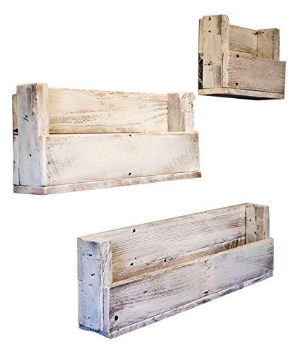Drakestone Designs Nursery Bookshelves Various Sizes (Set of 3) | Wall Mount | Handmade Rustic Reclaimed Wood - Whitewash by Drakestone Designs (Image #2)