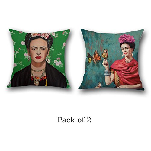 Multiart Throw Pillow Covers Set of 2, Linen/Cotton, Oil Printed Frida Kahlo Decorative Square Throw Pillow Case, Cushion Cover 18 x 18inch, Red/Indigo/Green//Brown