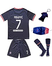 LULIDI Youth Sportswear Paris Kylian Mbappe #7 Home Soccer Teams Home Kids Soccer Jersey/Shorts/Socks Set