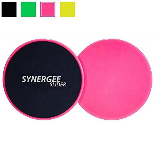 Synergee Power Pink Gliding Discs Core Sliders. Dual Sided Use on Carpet or Hardwood Floors. Abdominal Exercise Equipment