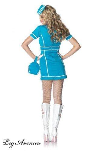 Flight Attendant Fancy Dress (Leg Avenue Women's 4 Piece Classic Flight Attendant Dress With Purse, Hat And Scarf, Blue/White, Medium/Large)