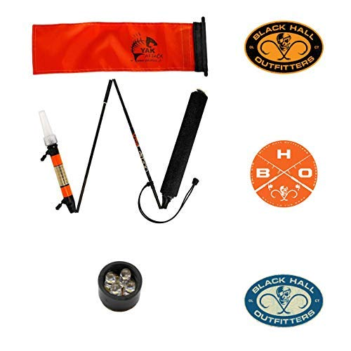 YakAttack Visicarbon Pro Fishing Safety Flag Kayak Light Accessory CPM with Ultra Bright Four LED Light Module Upgrade VL-4LED Fits Geartrac Track Mount - Two Free BHO Stickers