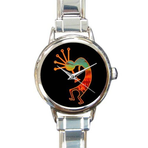 Special Design Native American Kokopelli Flute Player, Music Notes Round Italian Charm Watch (Flute Italian Charm)
