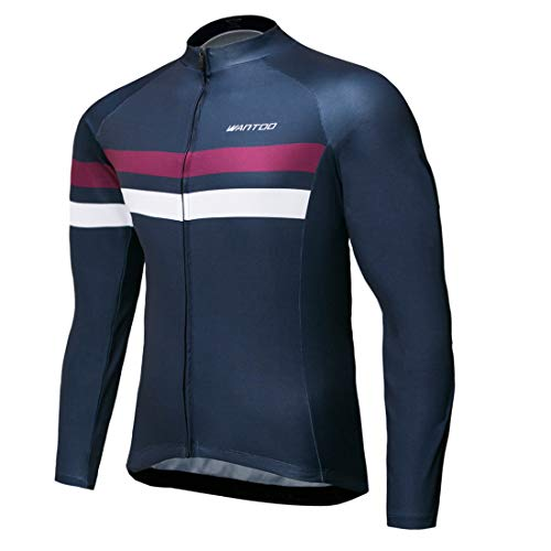 (Wantdo Men's Long Sleeve Cycling Jerseys Biking Shirt Breathable Quick Dry Road Mountain Bicycle Jacket Large)