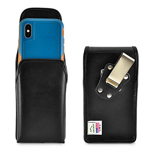 (Turtleback Belt Case Designed for iPhone Xs (2018) Fits with OTTERBOX Pursuit, Vertical Holster Black Leather Pouch with Heavy Duty Rotating Belt Clip, Made in USA )