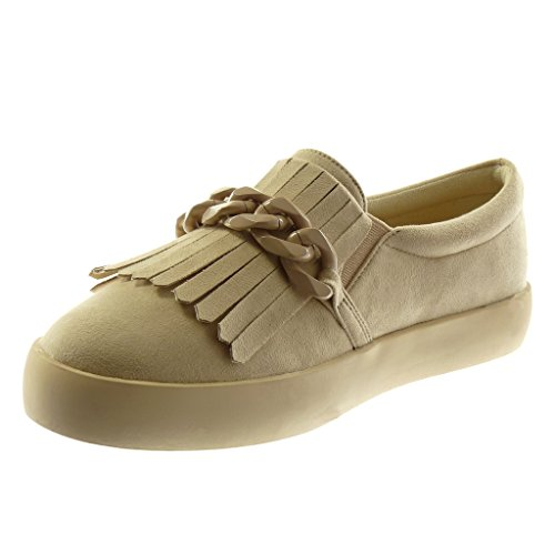 Sneaker Schuhe Angkorly Beige cm Damenmode Absatz Mokassins Flacher Sohle Ketten Schuhe 2 5 Fransen FBFIaAwqr