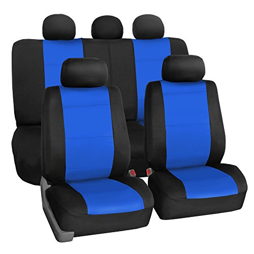 FH Group FB083BLUE115 Full Set Seat Cover (Neoprene Waterproof Airbag Compatible and Split Bench Blue) ()
