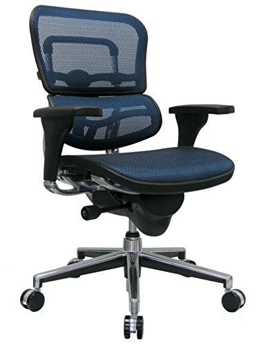 Eurotech Seating Ergohuman ME8ERGLO-BLUE(N) Mid Back Mesh Swivel Chair, Blue