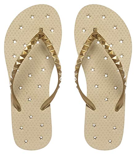 Showaflops Girls' Antimicrobial Shower & Water Sandals for Pool, Beach, Camp and Gym - Golden Sand 2/3