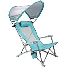 GCI Waterside SunShade Folding Beach Recliner Chair with Adjustable SPF Canopy