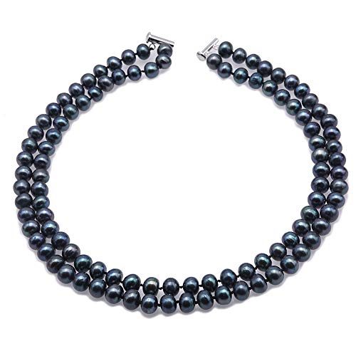 JYXJEWELRY Classic Double Strand Pearl Necklace AA+ 8.5-9.5mm Black Round Pearl Necklace Hand Knotted Strand 18