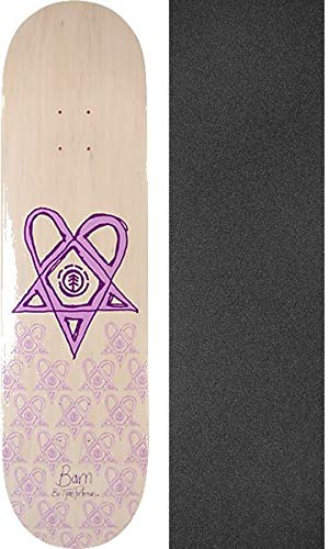 Bam Margera Decks Skateboard (Element Skateboards Bam Margera Heartagram Bam Tyson White/Purple Skateboard Deck - 8.5