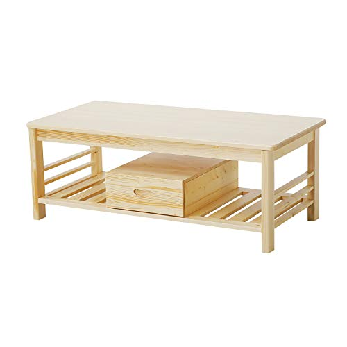 JSY Home Furniture Rectangular Coffee Table, 100% Natural Pine with Storage Shelf for Living Room - Natural
