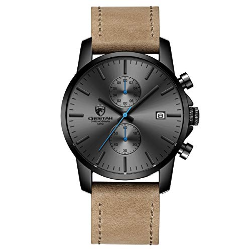 Watch Sports Strap - Men's Fashion Sport Quartz Watches with Leather Strap Waterproof Chronograph Watch, Auto Date in Blue Hands, Color: Black, Brown