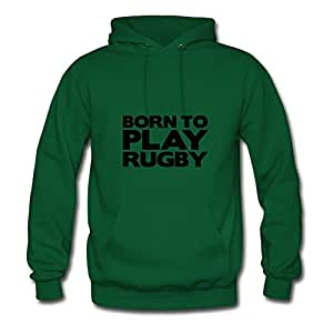 Green Regular Born_to_play_rugby Women Funny Hoody X-large