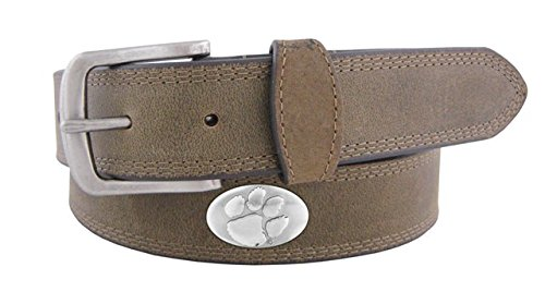 NCAA Clemson Tigers Light Crazyhorse Leather Concho Belt, Light Brown, 38-Inch ()