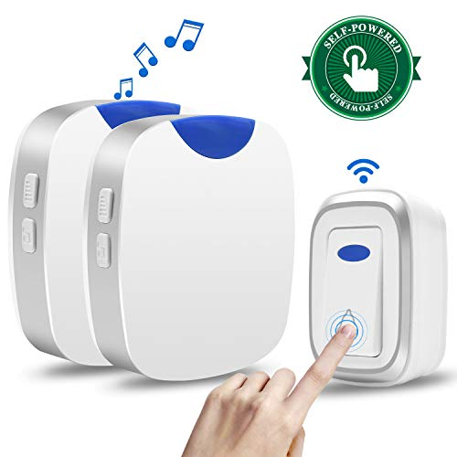 Agedate Newest 2019 Wireless Doorbell Battery Free Door Bell Kit with 2 Plug-in Receivers and 1 Transmitter Button Home Waterproof Doorbell LED Flash, Operating at 1000FT, 4 Level Volume 36 Chimes (Best Music Ringtones 2019)