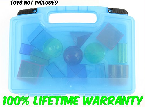 Life Made Better Toy Storage Organizer - Compatible With Learning Resources View-Thru Geometric Solids and Accessories-Durable Carrying Case- Blue