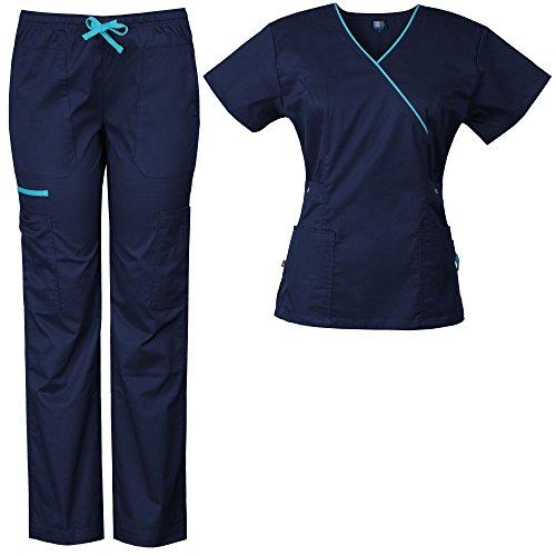 Contrast Trim Scrub Set - Medgear Women's Stretch Scrubs Set 5-Pocket Top & Multi-Pocket Pants (L, Navy/Turquoise)