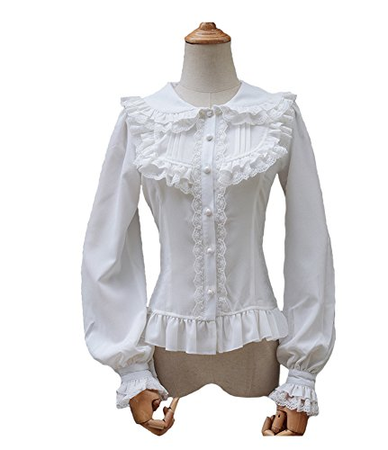Smiling Angel Women's Ruffle Sweet Lapel Collar Lolita White Blouse Sweet Angel Shirt