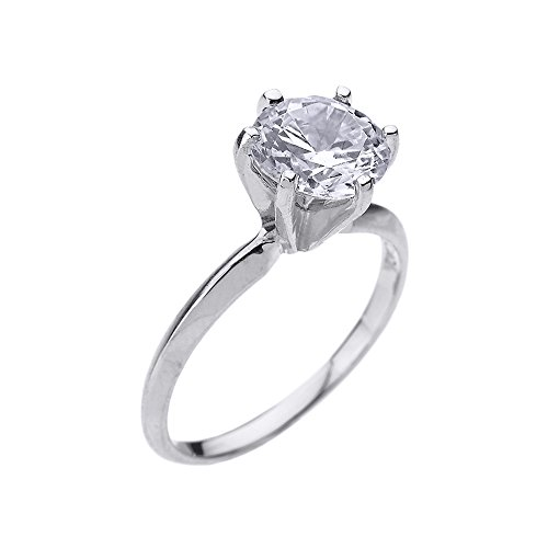 10k White Gold 3.0 ct Cubic Zirconia Solitaire Engagement Ring (Size 6) ()