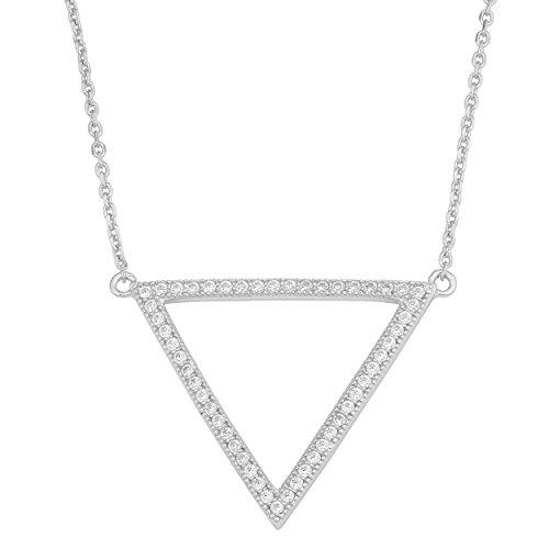 - Kooljewelry Sterling Silver Cubic Zirconia Triangle Pendant Necklace (18 inch)