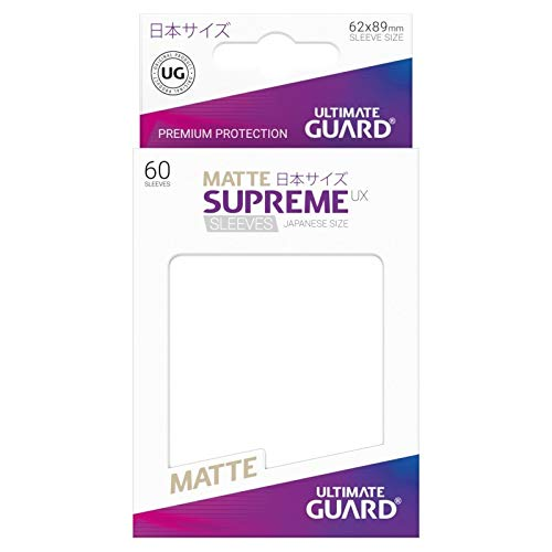 10 Packs Ultimate Guard White Supreme UX Japanese Size Matte Sleeves Standard Size 60 ct Card Sleeves Display Case