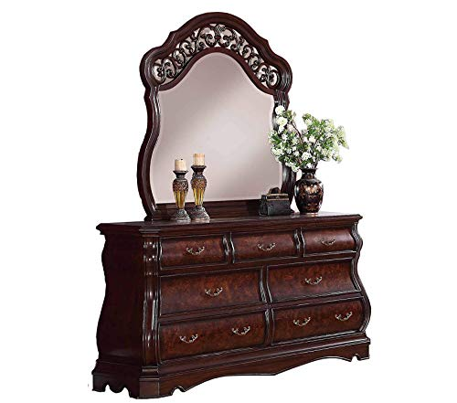 Furniture Tuscany Modern Wood Dresser and Mirror Cherry Premium Office Home Durable Strong ()