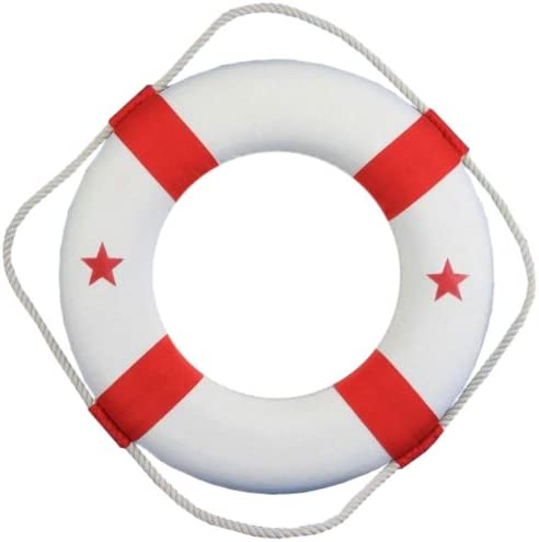 Hampton Nautical Classic White Lifering Mirror with Red Bands, 15